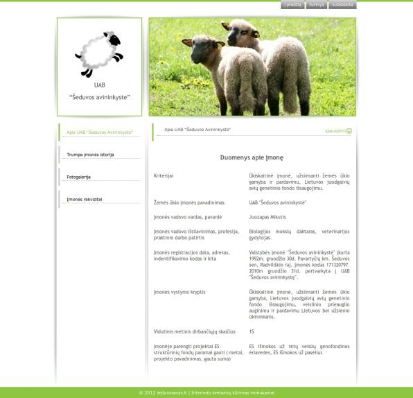 """UAB """"Šeduvos avininkystė"""" svetainė"""