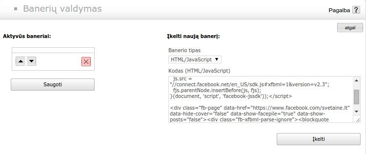 Facebook kodo kėlimas svetaine.lt sistemoje