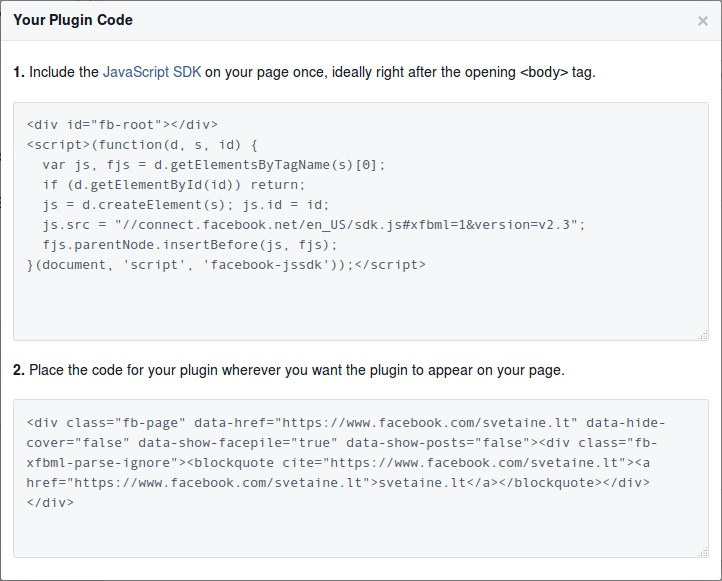 Facebook Page Code Generated