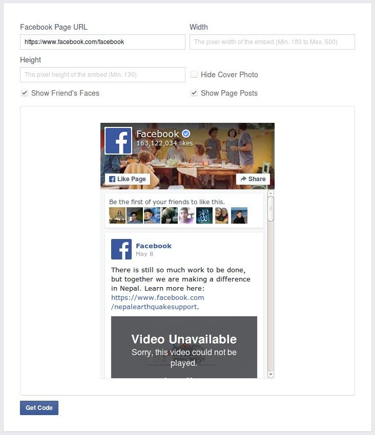 Facebook Page Plugin Code Generator