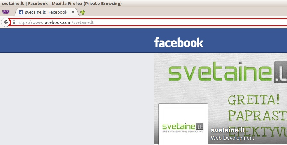 Facebook puslapio URL adresas