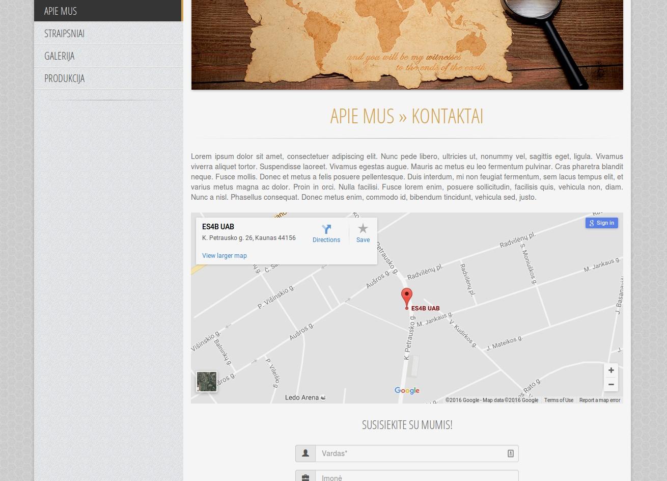 Interaktyvus Google Maps žemėlapis įkeltas