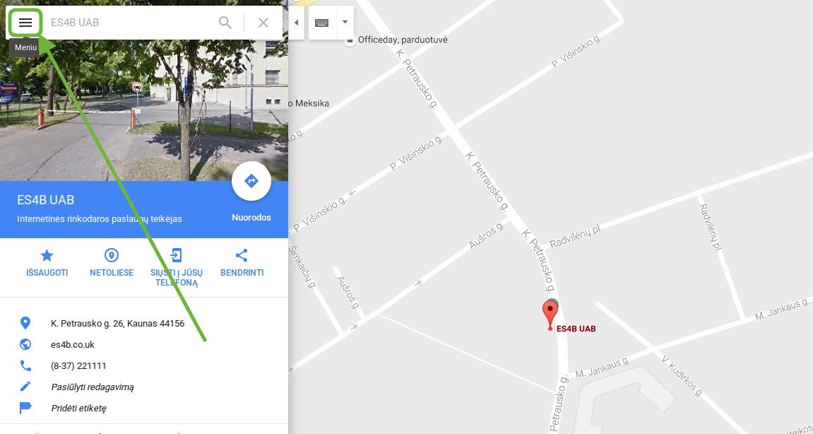 Susiraskite reikiamą vietą Google Maps lange ir spauskite |Meniu|