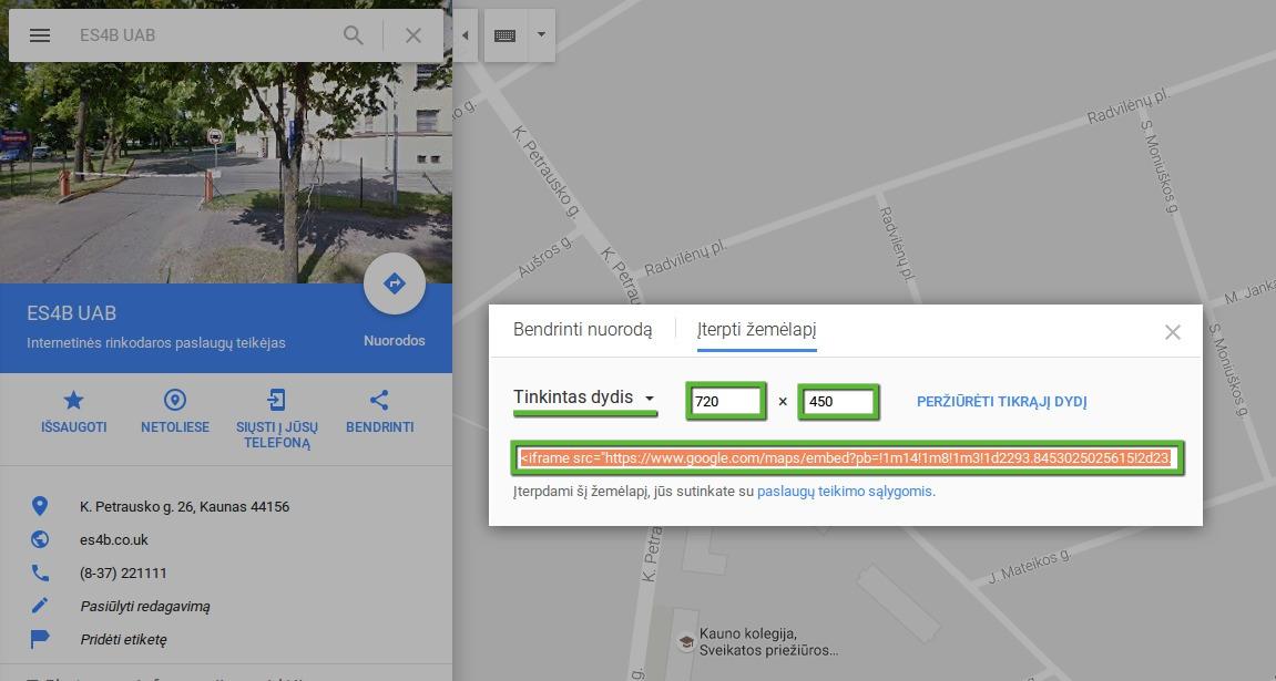 Nusikopijuokite Google Maps žemėlapio kodą
