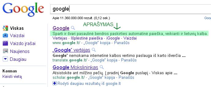 Svetainės aprašymas - Google paieškoje