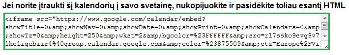 naujas suformuotas HTML kodas