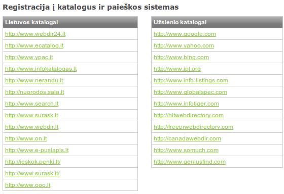 Registracija į internetinius katalogus