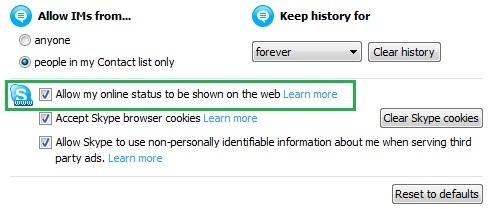 Skype nustatymai: statuso rodymas internete